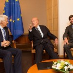 Mr. Valéry Giscard d'Estaing, Honorary President of Atomium Culture, former President of France and Prof. Jerzy Buzek, Member of the European Parliament and former Prime Minister of Poland and Mr. Michelangelo Baracchi Bonvicini, President of Atomium Culture