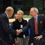 Mr. Valéry Giscard d'Estaing, Honorary President of Atomium Culture, former President of France,  Ms. Erika Widegren, Executive Director of Atomium Culture and Mr. Nils Torvalds, Member of the European Parliament