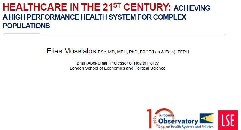 Presentation of Professor Elias Mossialos